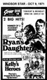 "AD FOR ""RYAN'S DAUGHTER & KELLY'S HEROES"" - SKYWAY DRIVE IN THEATRE"