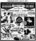 AD FOR SUNDAY MIDNITE SHOW - 4 FEATURES - SKYWAY DRIVE IN AND WINDSOR DRIVE IN