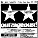 """AD FOR """"OUTRAGEOUS"""" - NEW YORKER THEATRE"""
