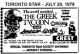 "AD FOR ""THE GREEK TYCOON & AMERICAN GRAFFITI"" - CREST THEATRE"
