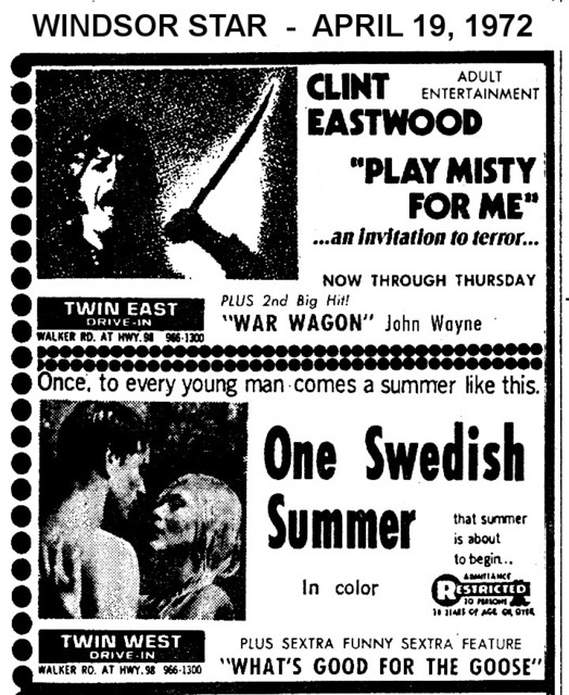 "AD FOR ""PLAY MISTY FOR ME & ONE SWEDISH SUMMER"" TWIN EAST & WEST DRIVE-IN THEATRE"