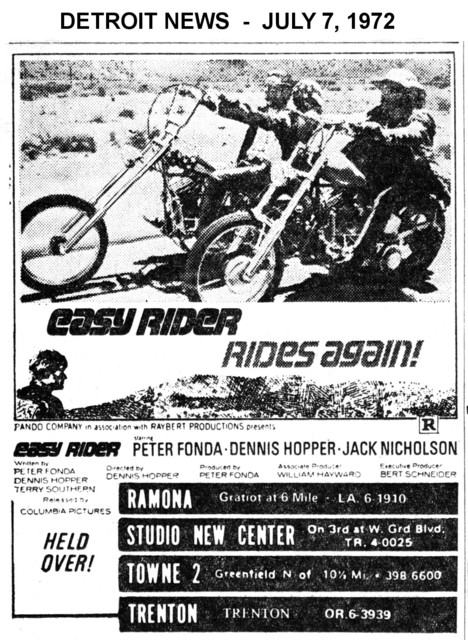 """AD FOR """"EASY RIDER"""" - TOWNE 2  AND OTHER THEATRES"""