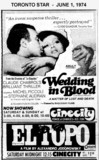 """AD FOR """"WEDDING IN BLOOD"""" - CINECITY THEATRE"""