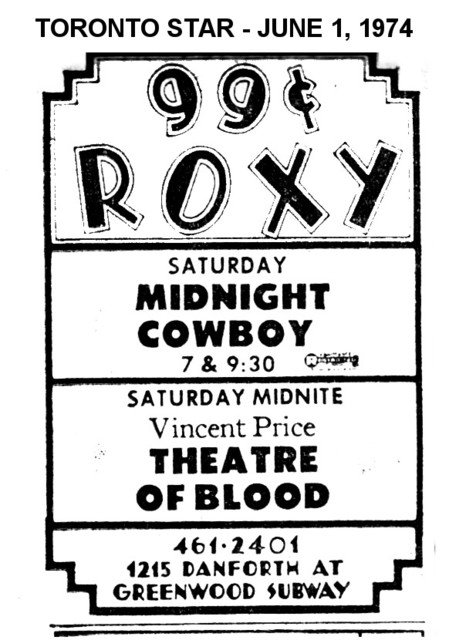 """AD FOR """"MIDNIGHT COWBOY & THATRE OF BLOOD"""" - ROXY THEATRE"""
