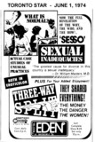 "AD FOR ""SEXUAL INADEQUACIES & THREE WAY SPLIT"" - EDEN THEATRE"