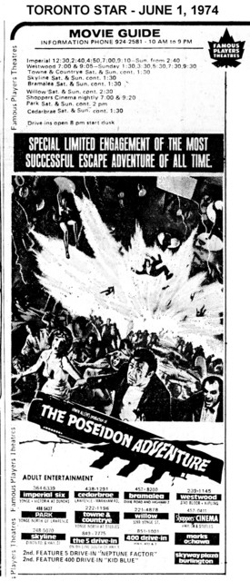 """AD FOR """"POSEIDON ADVENTURE"""" WILLOW AND OTHER THEATRES"""