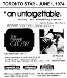 """AD FOR """"THE GREAT GATSBY"""" - SQUARE ONE (MISSISSAUGA) AND OTHER THEATRES"""