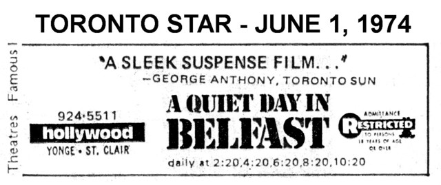 """AD FOR """"A QUIET DAY IN BELFAST"""" - HOLLYWOOD THEATRE"""