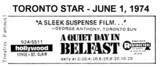 "AD FOR ""A QUIET DAY IN BELFAST"" - HOLLYWOOD THEATRE"