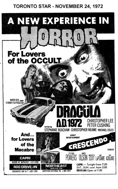 "AD FOR ""DRACULA A.D. 1972 & CRESCENDO"" - 400 DRIVE-IN AND OTHER THEATRES"
