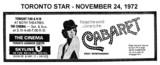 "AD FOR ""CABARET"" THE CINEMA & SKYLINE THEATRES"