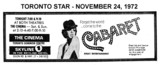 "AD FOR ""CABARET"" - SKYLINE & THE CINEMA THEATRES"