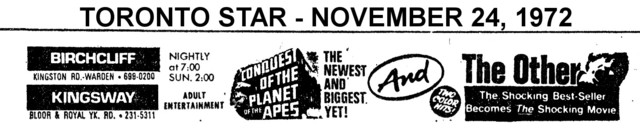"""AD FOR """"CONQUEST FOR THE PLANET OF THE APES & THE OTHER""""  BIRCHCLIFF & KINGSWAY THEATRES"""