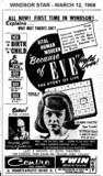"""AD FOR """"BECAUSE OF EVE"""" - CENTRE THEATRE AND TWIN DRIVE-IN"""