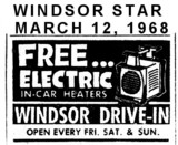 """AD FOR """"FREE HEATER"""" AT WINDSOR DRIVE-IN THEATRE"""