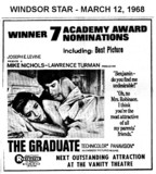 "AD FOR ""THE GRADUATE"" COMING NEXT TO THE VANITY THEATRE"
