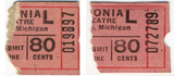 $.80 ticket stubs from the Colonial theatre