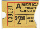 $2.50 ticket stub for the Americana Theatre