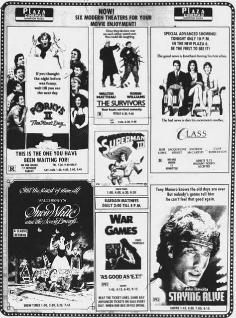 6-plex grand opening ad from July 15th, 1983