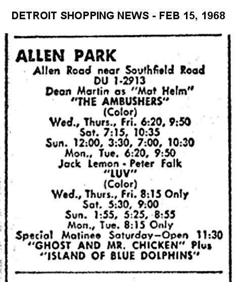 """AD FOR """"THE AMBUSHERS & LUV"""" - ALLEN PARK THEATRE"""