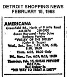"AD FOR ""VALLEY FO THE DOLLS"" -  AMERICANA THATRE"
