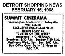 """AD FOR """"CUSTER OF THE WEST"""" SUMMIT CINERAMA"""