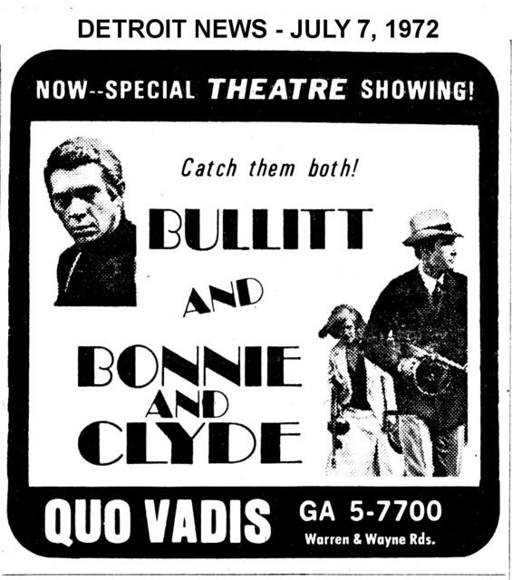 "AD FOR ""BULLITT & BONNIE AND CLYDE"" QUO VADIS THEATRE"