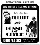 "AD FOR ""BULLITT & BONNIE AND CLYDE"" QUO VADIS THEATRE"