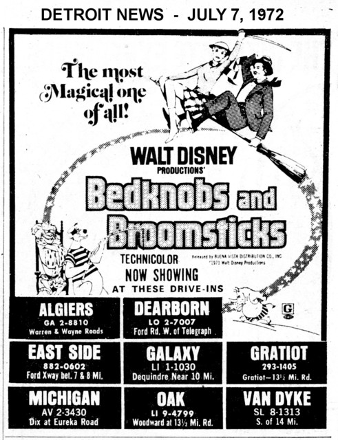 """AD FOR """"BEDKNOBS AND BROOMSTICKS"""" - GALAXY AND OTHER DRIVE-IN THEATRES"""