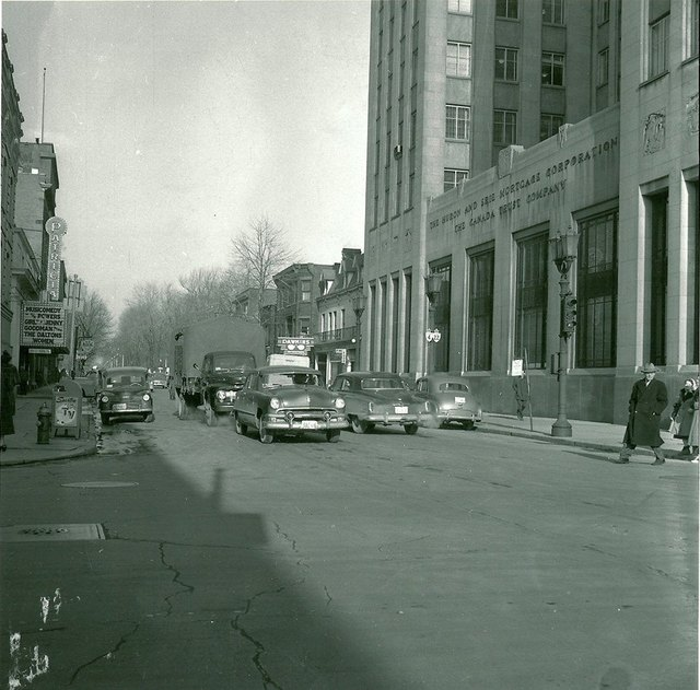 Patricia Theatre marquee on the left. Circa 1957 photo credit Mike Rice Collection/UWO Archives.