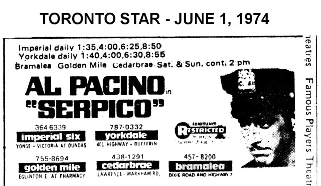 """AD FOR """"SERPICO"""" - IMPERIAL SIX AND OTHER THEATRES"""