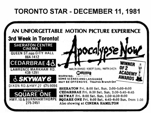 """AD FOR """"APOCOLYPSE NOW"""" - SQUARE ONE AND OTHER THEATRES"""