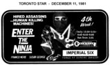 "AD FOR ""ENTER THE NINJA"" IMPERIAL SIX THEATRES"