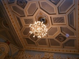 Chandelier and ceiling.
