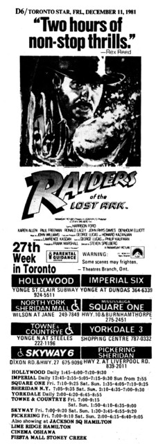 "AD FOR ""RAIDERS OF THE LOST ARK"" - HOLLYWOOD & OTHER THEATRES"