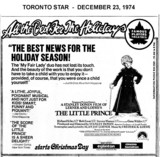 "AD FOR ""THE LITTLE PRINCE"" - CINEMA HAMILTON & EGLINTON THEATRE TORONTO"