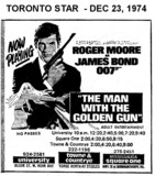 """AD FOR """"THE MAN WITH THE GOLDEN GUN"""" - SQUARE ONE (MISSISSAUGA) & OTHER THEATRES"""