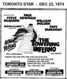 """TORONTO STAR AD FOR """"THE TOWERING INFERNO"""" - SQUARE ONE (MISSISSAUGA) AND OTHER THEATRES"""