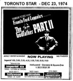 "TORONTO STAR AD FOR ""THE GODFATHER 2"" GLENDALE AND OTHER THEATRES"