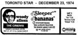 """AD FOR SLEEPER, BANANAS & EVERYTHING YOU ALWAYS WANTED TO KNOW ABOUT SEX"""" THE CINEMA"""