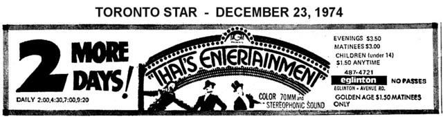 "AD FOR ""THAT'S ENTERTAINMENT"" - EGLINTON THEATRE"