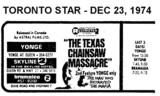 "AD FOR ""THE TEXAS CHAINSAW MASSACRE"" - YONGE & OTHER THEATRES"