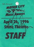 4/26/96 Staff pass courtesy of Sonny Lee.