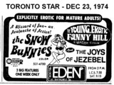 "AD FOR ""SNOW BUNNIES & THE YOUNG EROTIC FANNY HILL"" - EDEN THEATRE"