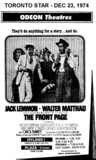 """AD FOR """"THE FRONT PAGE"""" - PLAZA (OSHAWA) & HYLAND THEATRE"""