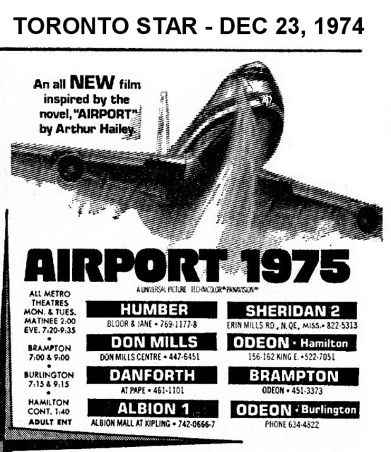 """AD FOR """"AIRPORT 1975"""" - HUMBER & OTHER THEATRES"""