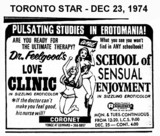 "AD FOR ""DR. FEELGOOD'S LOVE CLINIC & SCHOOL OF SENSUAL ENJOYMENT"" - CORONET THEATRE"