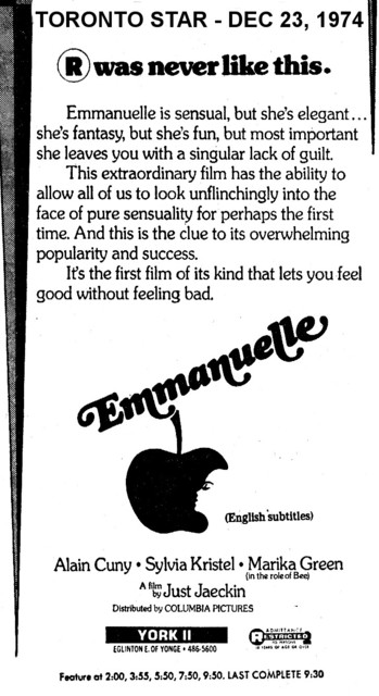 "AD FOR ""EMMANUELLE"" - YORK 2 THEATRE"