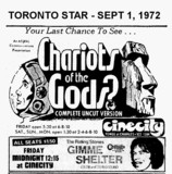 """AD FOR """"CHARIOTS OF THE GODS"""" - CINECITY THEATRE"""