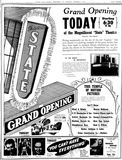 December 2nd, 1937 grand opening ad as State in photo section